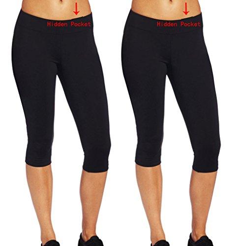 iLoveSIA-Confezione da 2da donna Capri Corsa Yoga Collant 2Pack(Capri Black) with hide pocket Small