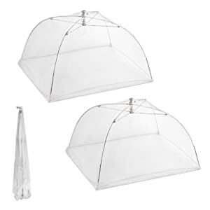 Set of 2 Large Pop-Up Mesh Screen Food Cover Tents - Keep Out Flies, Bugs, Mosquitos - Reusable - Colors May Vary