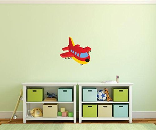 Design with Vinyl 1 Pro 159 Decor Item Airplane Cartoon for Kids Wall Decal Peel and Stick Sticker Mural, 8 x 24-Inch