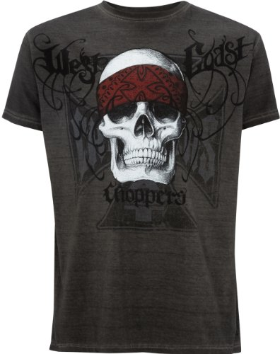 T-Shirt West Coast Choppers Bandana Skull Oil Dye Anthracite (S , Grigio)