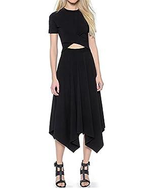 Women's Sexy Short Sleeve Asymmetrical Hem Calf-length Casual Dress