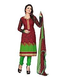 JHEENU Red CREPE Unstitched Dress Material
