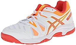 ASICS GEL Game 5 GS Tennis Shoe (Little Kid/Big Kid),White/Hot Coral/Nectarine,4.5 M US Big Kid