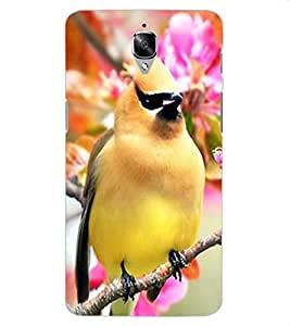 ColourCraft Bird with Flowers Design Back Case Cover for OnePlus Three