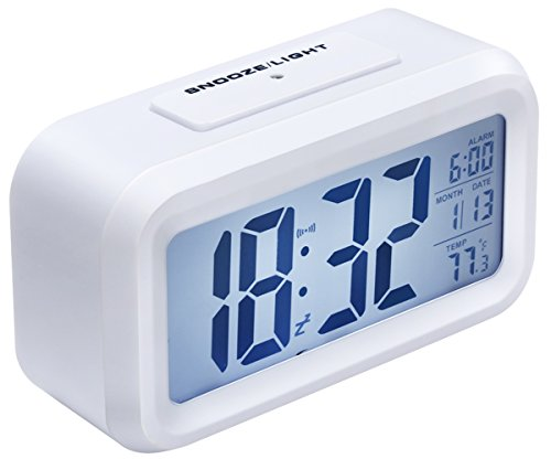 Alarm Clock, Arespark Silent Digital Morning Clock, Big LCD Screen Clock with Date and Temperature Display- Snooze- Smart Night Light(white Backlight)-Battery Operated- White
