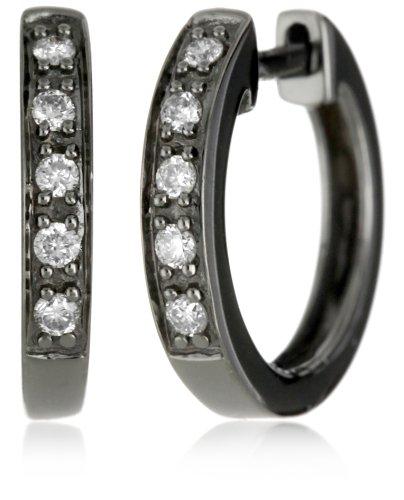 "Kc Designs ""Charmed Life"" Diamond 14K White Gold Mini Hoop, Black Finish"