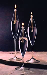 Oil Candle Glass Lamp Set of 3 Tear Drops