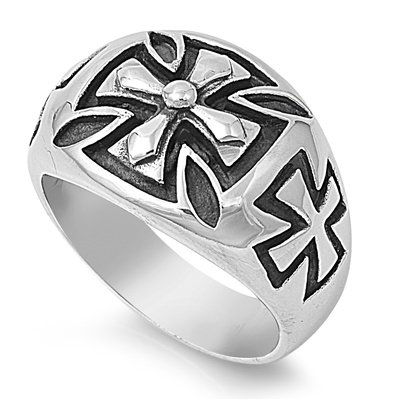 MEN'S STAINLESS STEEL CHOPPER, CROSS, SKULL & BONES MOTORCYCLE RING SIZE 8-14 (14)
