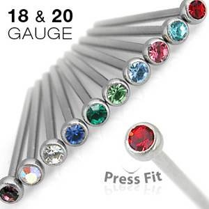 Jewellery Sleuth Fishtail Autoclavable Nose Stud with 2 mm CZ Gem Ball Top - 1mm - Clear