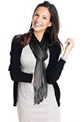 Hollywood Solid Pashmina Scarf, Charcoal