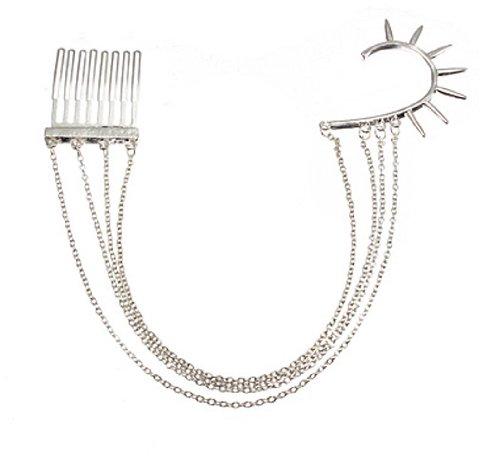Silver Spike Chain Tassels Hair Comb Earring Ear Cuff DDStore