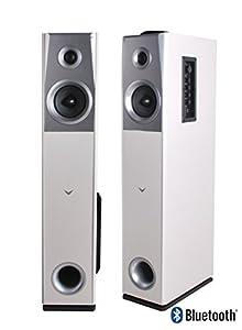 Visonik White Wood Floorstanding Powered Home Bluetooth FM Radio Tower Speakers