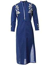 Azra Jamil Fine Cotton Blue Thread Embroidered Traditional Kurti For Women