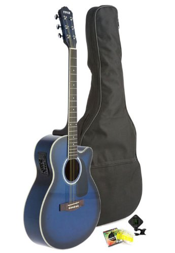 Fever 5015Ce-Bl Full Size Jumbo Body Steel String Acoustic-Electric Guitar, Blue