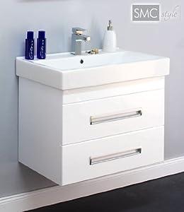 waschtisch mit unterschrank contessa cubus 70 wei mit hochglanzlackierung klavierlack amazon. Black Bedroom Furniture Sets. Home Design Ideas