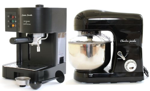 PACKAGE DEAL Kitchen Powerful food MIXER 5L in BLACK, Most POWERFUL 1200W - with SPLASH GUARD + Charles Jacobs 15 Bar Pump COFFEE - ESPRESSO Italian Style MACHINE in Black by Charles Jacobs