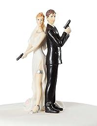 Super Sexy Spy Wedding Bride and Groom Cake Topper Figurine
