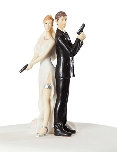 Super Sexy Spy Wedding Bride and Groom Cake Topper Figurine By Wedding Collectibles