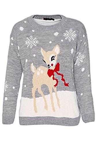 Fashion Clo Thing Unisex bambini Baby cervo Natale maglione bambina maglia Bambi Xmas Donna Grau 7-8 Anni