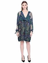 KASHANA Viscose Georgette Green Floral Printed Summer Wrap Tunic Dress for Women Girls Ladies