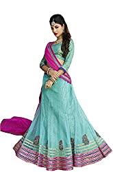 Suchi Fashion Turquoise and Pink Net Embroidery Border Work Semi Stitched Lehenga