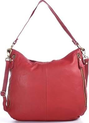 CNTMP, Damen Umhängetaschen, Crossover-Bags, Crossbags, Schultertaschen, Handtaschen, DIN-A4, Leder, Rot, 36x33x13cm (B x H x T)