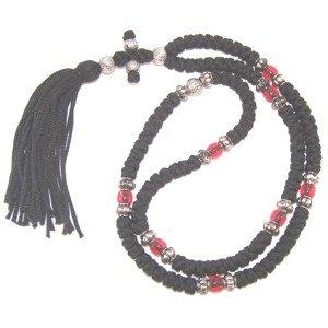 Black Knotted wool chotki Rosary - Komvoschinia (100 Knots - 23