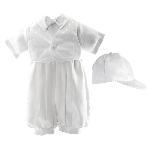 Haddad Brothers Baby-Boys Newborn Christening Baptism Special Occasion Shantung Romper with Attached Cross Dobby Vest, White, 9-12 Months