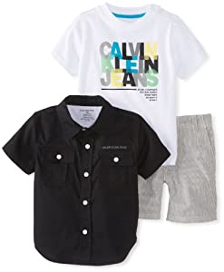Calvin Klein Baby-Boys Infant Shirt with Tee and Short from Calvin Klein