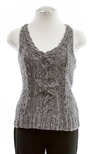 Anne Klein Heather Gray Sleeveless Cable Knit Top X-Small