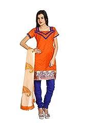 Parchayee Women's Orange Printed Art Silk Dress Material