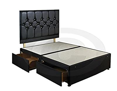 King Size Diamond Divan Bed Base with Faux Leather Headboard and 4 Drawers