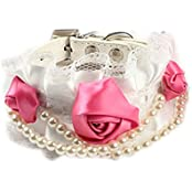 Imported Pet Dog Cat Puppy Rose Pearls Decor Necklace Lace Collar Neck Strap White M