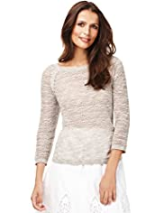 Indigo Collection Pure Cotton Pointelle Jumper