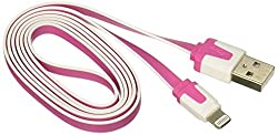 Reiko 39-Inch Flat Data Cable for Apple iPhone 5/6/6 Plus/6S/6S Plus - Retail Packaging - Hot Pink