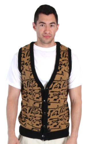 [80's Movie Ferris Bueller's Day Off Button Up Costume Sweater Vest (Adult Small)] (Abe Froman Costume)