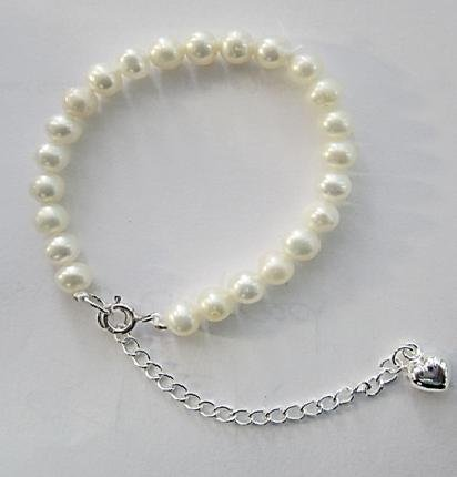 Pearlyta Cultured Pearl with Heart Extender Kids Bracelet