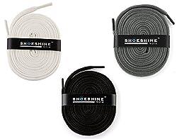 Flat Shoe Laces - 3 Pair Set (Black White Gray Shoe Laces)
