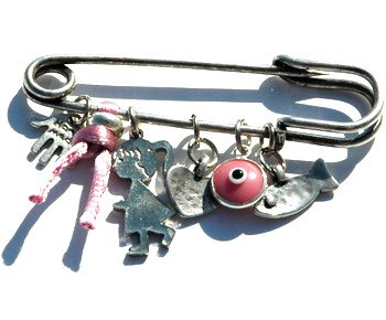 Baby Girl Pin  Multiple Protection Charms in