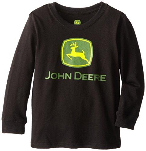 John Deere Little Boys' Long Sleeve Basic Logo Tee, Black, 6 front-507770