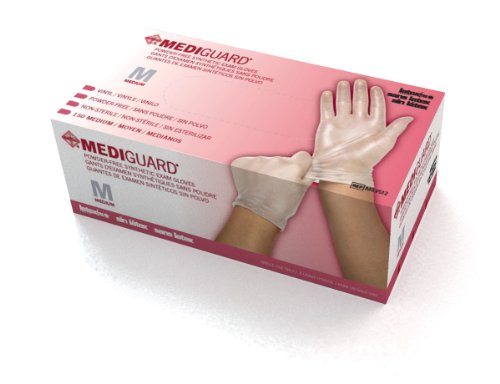 MediGuard Vinyl Synthetic Exam Gloves,Clear,Small, Qty 150