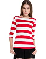 Camii Mia Women's Spring 3/4 Sleeves Cotton Stripe Pattern T-Shirt