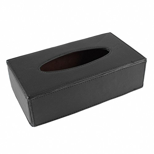 Car Home Rectangle Shaped Faux Leather Case Paper Tissue Box Holder Black