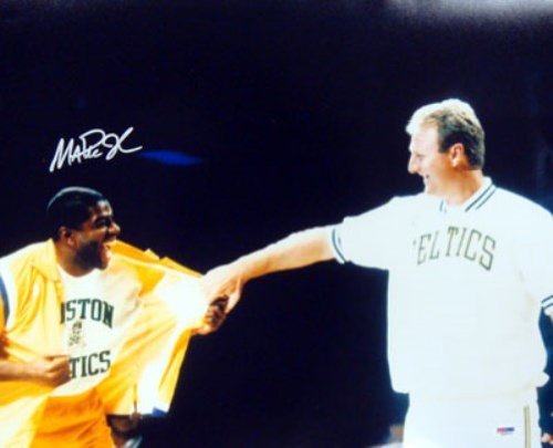 Magic Johnson Signed Lakers 16x20 Photo Warm Up with Larry Bird - PSA DNA at Amazon.com