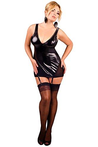 Andalea Sexy Damen Dessous Gogo Wetlook Minikleid Partykleid Strapskleid Strapshalter Clubkleid kurzes Kleid schwarz