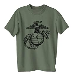 USMC Marines Eagle, Globe and Anchor Short Sleeve T-Shirt in Military Green