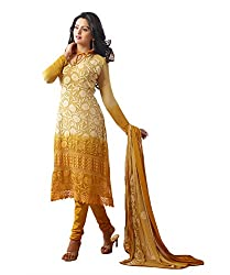 Rudra Fab yellow Karachi work semi stitched salwar suit dress material