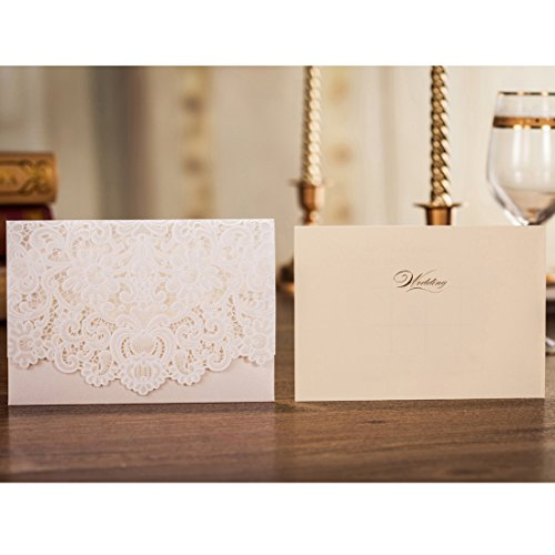 Wishmade 50pcs Ivory Laser Cut Lace Wedding Invitation kit Card Stock with Embossed Floral For Marriage Party Supplies (Set of 50 Piece) 3