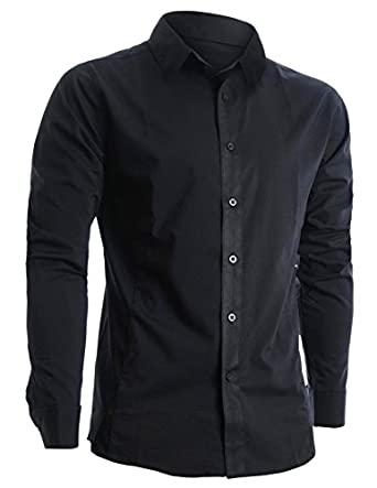 FLATSEVEN Mens Slim Fit Basic Dress Shirts Long Sleeve (SH400) Black, M