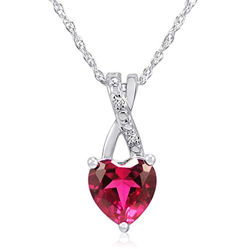 Amanda Rose Collection Women's Created Ruby Heart